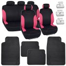 Black & Pink NeoCloth Car Seat Covers Rubber Auto Floor Mats Set Full Protection