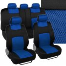Poly Mesh Blue Seat Covers Set Steering Wheel 5 Headrests 9pc Total Set