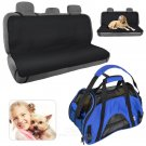 Waterproof Black Bench Seat Cover and Large Soft Sided Blue Pet Carrier