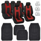 Black/Red Car Seat Covers Protection Cloth Rubber Floor Mats Liners in Black