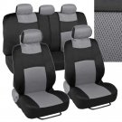 Seat Covers Black and Gray Mesh Cloth Polyester 2 Color Accent Set Accessories