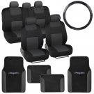 Black & Charcoal Seat Covers 14 Pc Set Complete w/ Two Tone Vinyl Trim Floor Mat