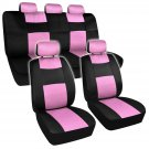 11pc Seat Covers Mesh Black and Pink Sporty Two Tone Set Steering Wheel Pads