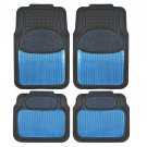 Original Car Rubber Floor Mats Blue Metallic Design on Black Heavy Duty Rubber