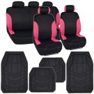 Pink on Black Auto Seat Covers for Car SUV & Rubber Floor Mats 13pc Set