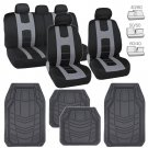 Black/Grey Car Seat Covers Protection Cloth w/ Gray Rubber Floor Mats Liners