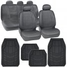 Leatherette Charcoal Grey Seat Covers Auto Car & Black Rubber Floor Mat Liners