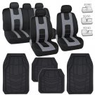 Black/Grey Car Seat Covers Protection Cloth w/ Rubber Floor Mats Liners in Black