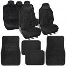 Traveler Seat Cover 9 Pc Encore Fabric Black & 4 Pc Thick Plush Carpet Mats
