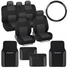 Charcoal  Black Interior Split Bench Seat Covers 2 Tone Floor Mats  14 Pc Set
