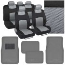 4 Pc Plush Solid Black Carpet  9 Pc Sporty Spacer Mesh Gray Cloth Seat Cover