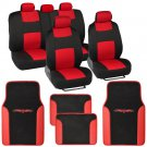 Red/Black Car Interior Set Split Bench Seat Covers 2 Tone Floor Mats