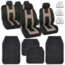 Black/Tan Car Seat Covers Protection Cloth w/ Rubber Floor Mats Liners in Black