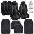 Black Car Seat Covers w/ Charcoal Gray Stripe & Heavy Duty Rubber Floor Mats