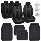 Car Seat Covers Protection Cloth w/ Rubber Floor Mats Liners in Black 13pc Set