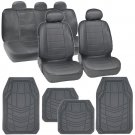 Leatherette Ch Grey Seat Covers Auto Car & Rubber Floor Mat Liners Full Interior