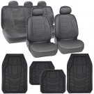 Original Simulated Leather Car Seat Covers Floor Mats for All Weather in Gray