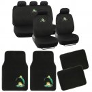 Frog Seat Covers & Floor Mats Combo Bundle Green on Black Flat Cloth