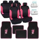 Auto Car Seat Covers Full Set Black & Pink w/ Hibiscus Flower Carpet Floor Mats
