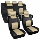 OEM Supreme Mesh Seat Covers Black &Beige Gold Extra Thick Padding for Auto Car