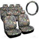 HAWG CAMO 9 Pc Car Seat Covers and 1 Pc Steering Wheel Cover Full Set for Auto
