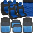 Original Blue Knit Mesh on Black Polyester Seat Covers Aluminum Rubber Floor Mat