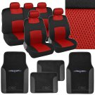 4 Pc Plush PU Red Carpet 9 Pc Sporty Spacer Mesh Red Cloth Seat Cover