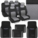 4 Pc Plush PU Black Carpet 9 Pc Sporty Spacer Mesh Gray Cloth Seat Cover