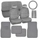 Car Seat Covers & Ribbed Floor Mats Classic Gray Velourette With Corduroy Mats