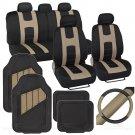 OEM Full Interior Set Rome Car Seat Cover Rubber Mat & Steering Wheel Cover