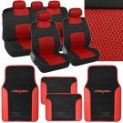 9 Pc Sporty Mesh Cloth Red Black Seat Cover and 4 Pc PU Black Carpet Mats