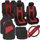 Original Set Car Seat Covers Rubber Mats & Steering Wheel Cover Rome Sport Red