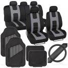 OEM Rome Sport Set 2 Tone Gray Black Car Seat Cover Rubber Mat & Steering Cover