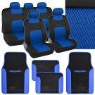 4 Pc Plush PU Blue Carpet 9 Pc Sporty Spacer Mesh Blue Cloth Seat Cover