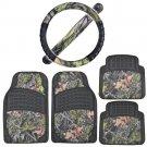 Rubber Car Floor Mats Black w/ Camo Inlay + Comfort Grip Steering Wheel Cover