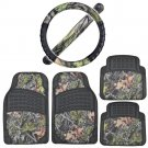 Heavy Duty Rubber Floor Mats Steering Wheel Cover Black with Camo Accents