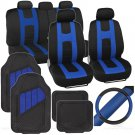 OEM Rome Sport Set 2 Tone Blue Black Car Seat Cover Rubber Mat Steering Cover
