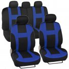 OEM Blue on Black Striped Car Seat Covers Auto Interior Monaco Sporty Mesh Cloth