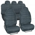 7pc High Back Bucket Seat Covers Dotted Regal Cloth Charcoal Full Interior