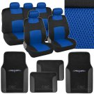 9 Pc Seat Cover Split Bench Mat Combo  Blue Mesh Seat With 4 Pc PU Black Carpet