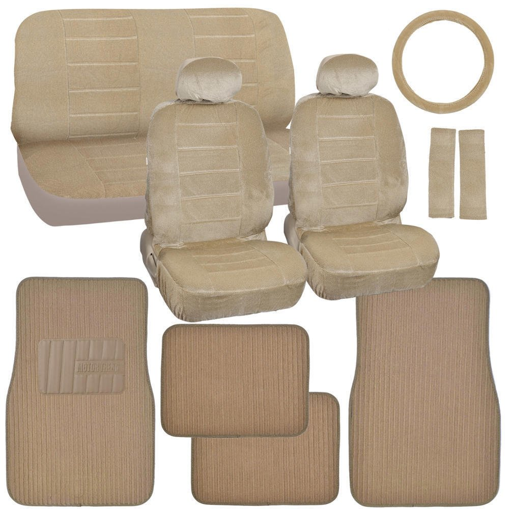 Car Seat Covers And Ribbed Floor Mats Beige Velourette