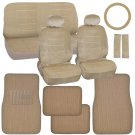 Car Seat Covers And Ribbed Floor Mats Beige Velourette With Tan Corduroy