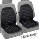 Pair of Magnetic Bubble Seat Cushions Massage Therapy Beads Car Auto Home Black