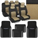 OEM 2 Tone Beige Black Cozy Spacer Mesh Seat Cover 4 Pc Black PU Floor Mat