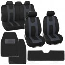 Complete Set Charcoal Stripe Car Seat Cover Solid Hefty Mat Black Front And Rear