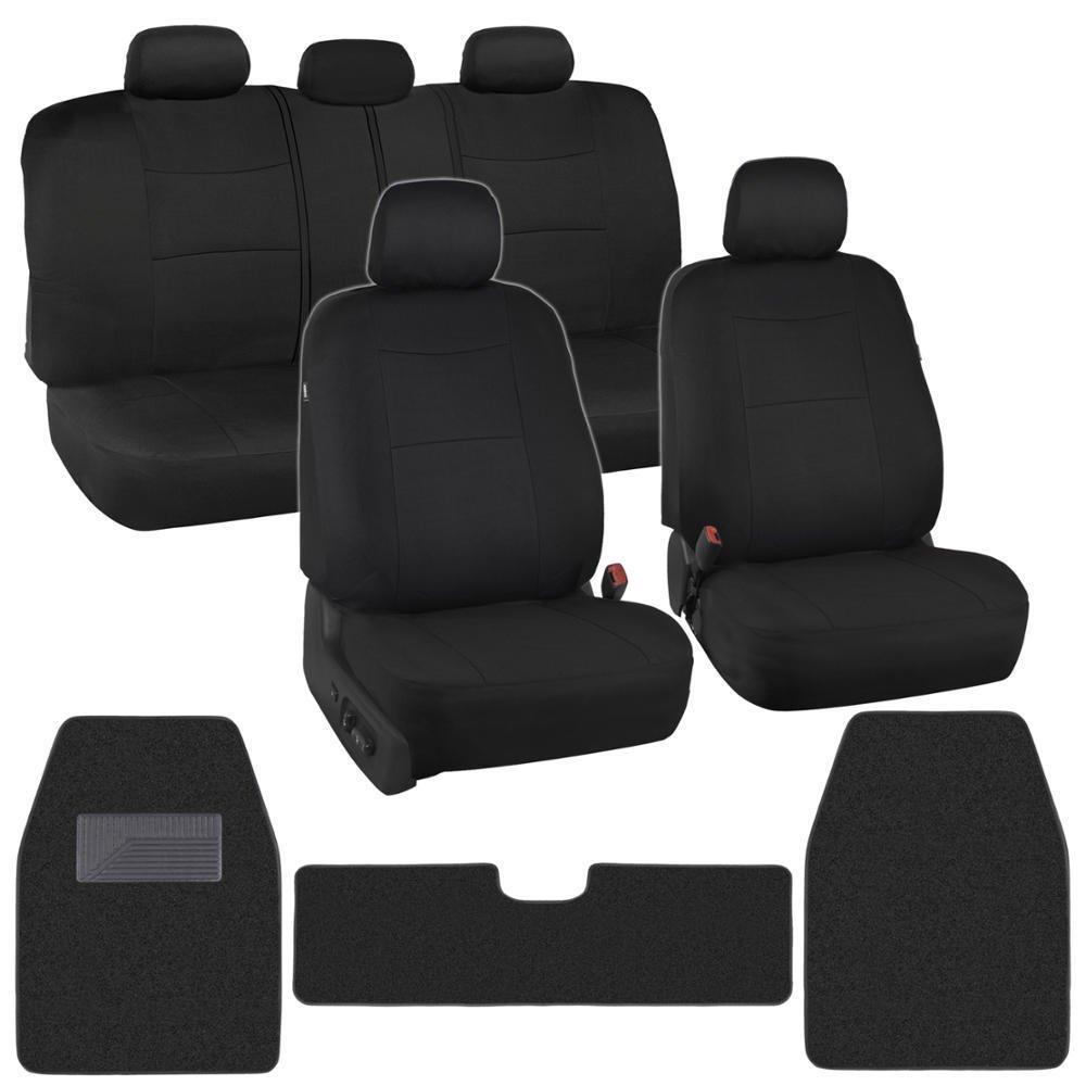 full auto interior protection car seat covers carpet floor mats black cloth. Black Bedroom Furniture Sets. Home Design Ideas
