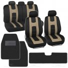 Rome Sport Seat Covers Set Front And Rear Racing Stripes Black Tan plus Hefty Mats