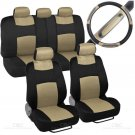 9Pc Sporty Mesh Cloth Beige and Black Seat Cover & 1 Pc Beige Steering Wheel Cover
