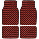 Original Chevron Black and Red Car Floor Mats Unique Stripe Design 4pc Full Set