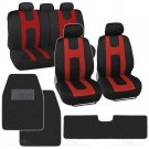 Seat Cover for Car Rome Sport Racing Style Stripes Black Red with Hefty Mats